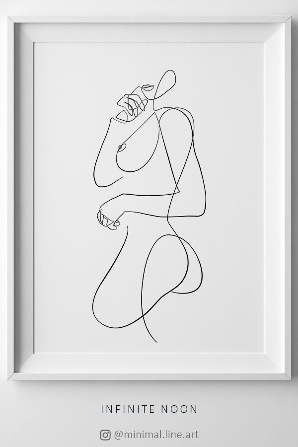 Abstract Female Line Art, Naked Woman One Line Drawing, Continuous Artwork, Nude Sketch, Minimal Simple Print, Black And White Wall Art – Infinite Noon