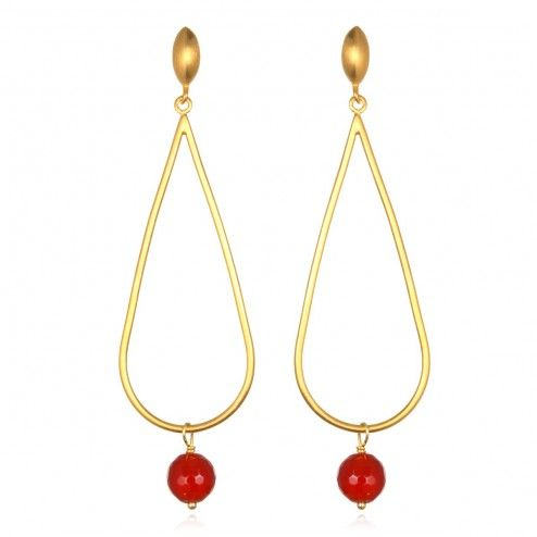 Satya Gold Sweet Tears Carnelian Earrings at aquaruby.com