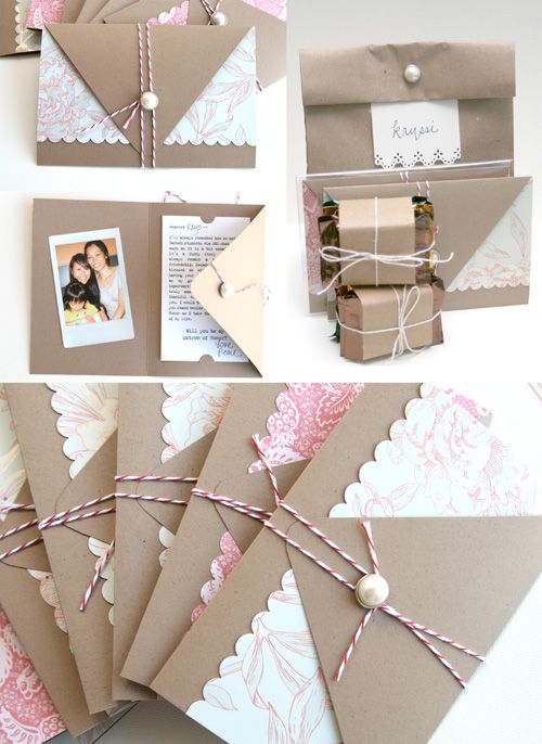 """Bmaid Envelope Cards: """"To ask my friends to be bridesmaids, I created a simple trifold card shaped like an envelope booklet."""""""