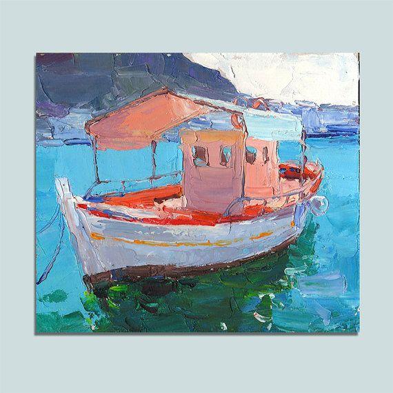 Original Oil Painting Boat Seascape Wall Decor Fine Art