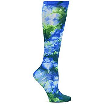 Amazon.com: Nurse Mates Women's 12-14 mmHg Compression Trouser Sock Royal Green Tie Die: Clothing