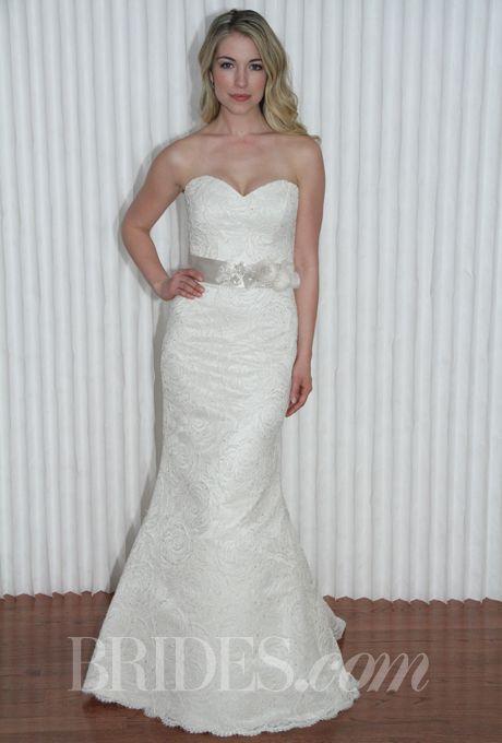 "Brides.com: Modern Trousseau - Spring 2014. ""Demi"" strapless beaded mermaid wedding dress with sweetheart neckline, Modern Trousseau"