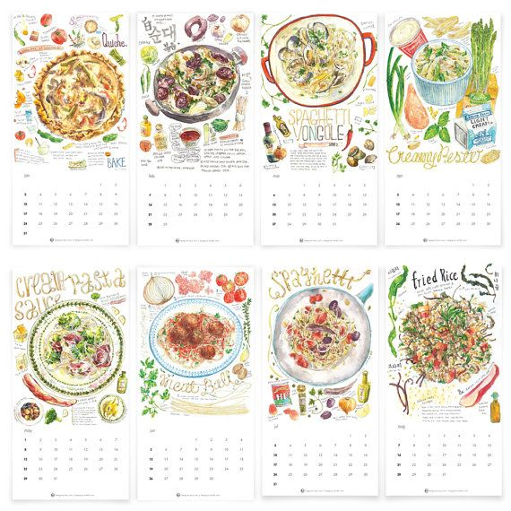 2016 Watercolor Food Calendar by Heegyum on Etsy