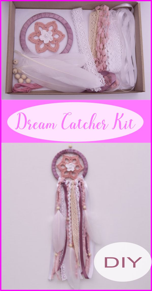 Beautiful DIY dream catcher kit  with #crochetdoily, ring and #lace  - #vintagedoilies #dreamcatcher #ad