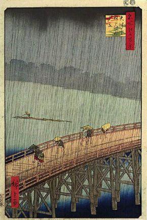 Hiroshige : 歌川広重 「名所江戸百景 大はしあたけの夕立」 大判錦絵/高浜市やきものの里かわら美術館蔵
