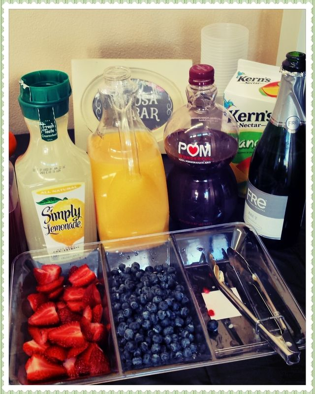 French Bistro theme Breakfast - Teacher Appreciation Non-alcoholic mimosa Bar (raspberries missing)