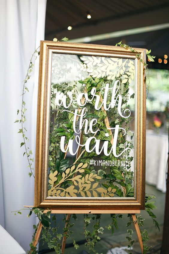 gold frames and greenery welcome wedding sign #vintagewedding #weddingideas #weddingsigns #wedding ❤️ http://www.deerpearlflowers.com/vintage-welcome-wedding-sign-ideas/2/
