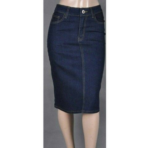 1000  images about Knee Length Denim Skirts on Pinterest | Dark ...