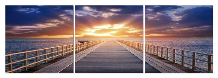 Pier Sunrise Mounted Photography Print Triptych | Affordable Modern Furniture in Chicago