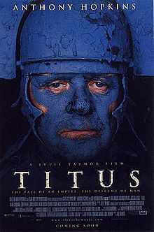 Cover for Julie Taymor's adaption depicting the plays namesake; Titus Andronicus, who after enduring plots of revenge by Tamora, essentially goes insane and eventually kills his own daughter.