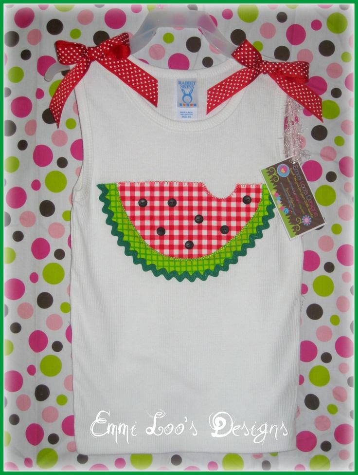 Size 5/6 Yummy Watermelon Appliqued Girls Tank by EmmiLoosDesigns, $19.00