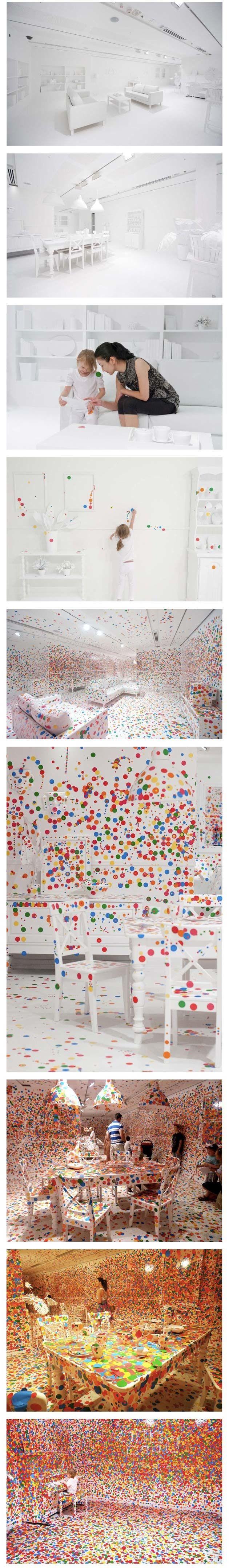 Dots, Dots, dotsArtists, Funny Things, Modern Art, Colors, Stickers, Yayoi Kusama, White Rooms, Art Installations, Kids