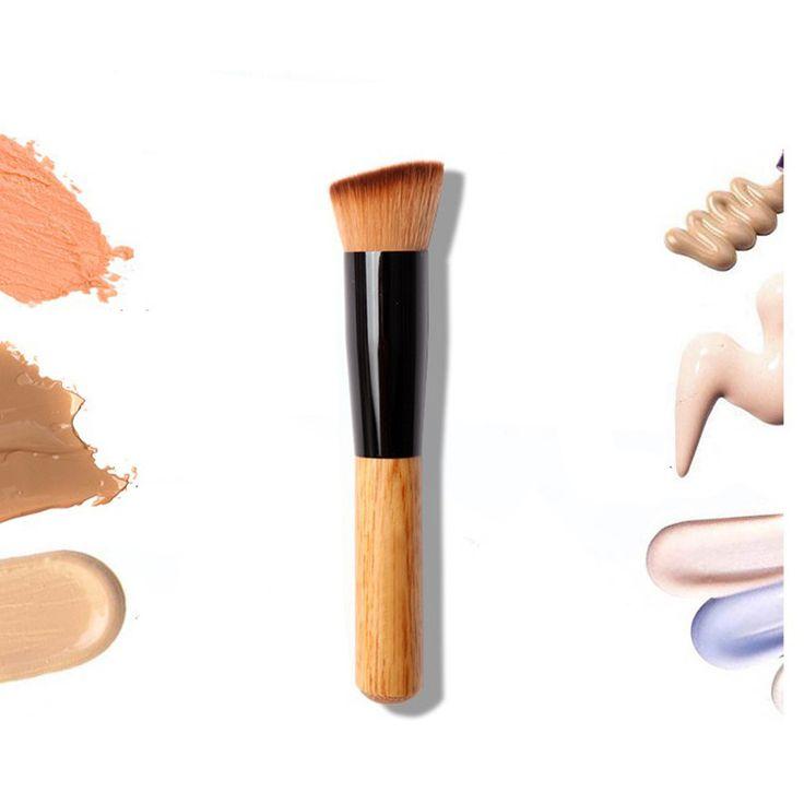 1 pz di bambù professionale fondazione pennello correttore in polvere blush liquido fondazione blush angolato flat top base cosmetici liquidi