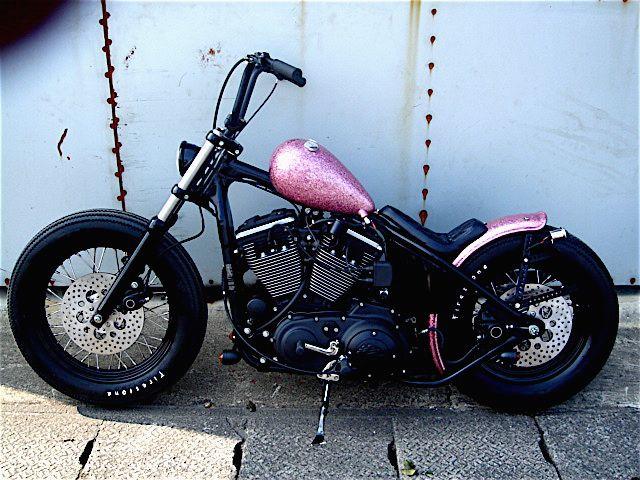 Found @Laura Jayson Reaux a bike! pink metalflake hardtail sportster custom by Crazy Orange M/C