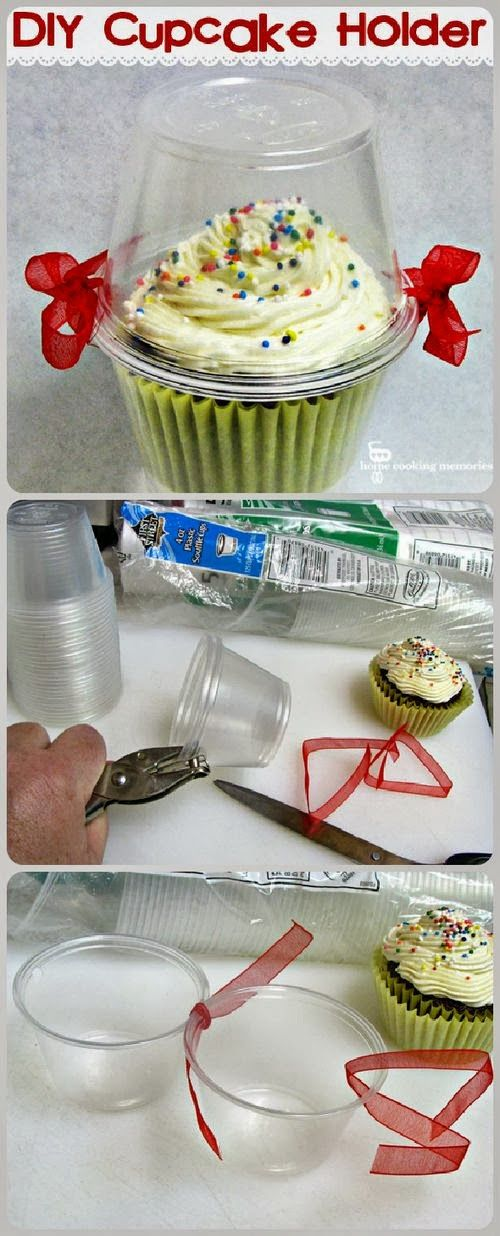 If can't find lids, simply use pretty color coordinated ribbon to make these out of two cups!