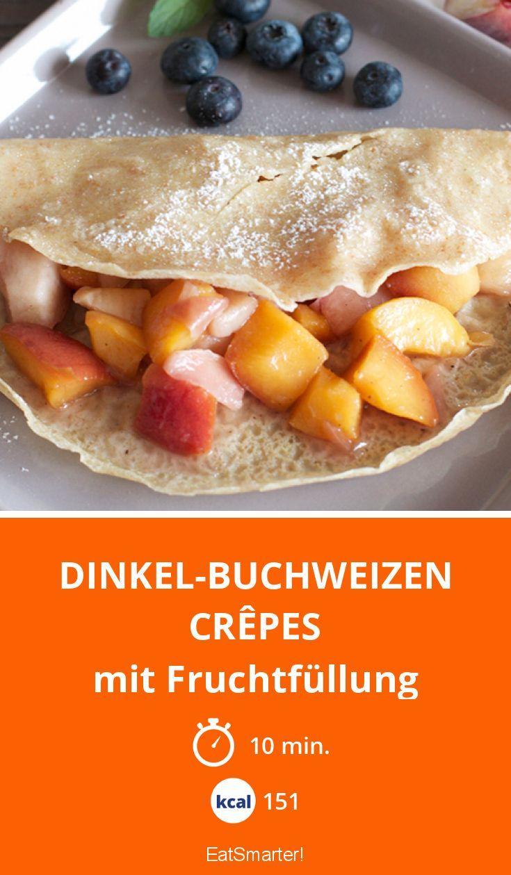 Dinkel-Buchweizen Crêpes mit Fruchtfüllung | Kalorien: 151 Kcal - Zeit: 10 Min. | http://eatsmarter.de/rezepte/hirsebrei-mit-obst-und-walnuessen