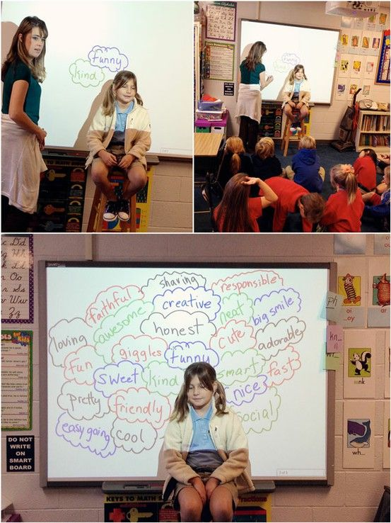 Idea for group: Have a student sit in front of a white board while others write positive adjectives and attributes around them. Take a picture so the student can always remember all the great things others think about them! This can also be a great BIRTHDAY present!