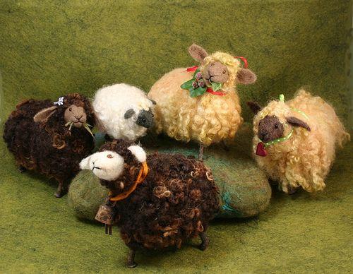 Twig Sheep - needle felted
