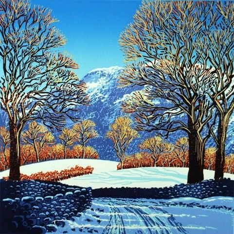 """""""Snow in Nether Wasdale"""" by Mark Pearce. Limited Edition of 32. Reduction wood and Linocut. Block Size 30 cm x 30 cm http://www.themeregallery.co.uk/#/mark-pearce/4579448041"""