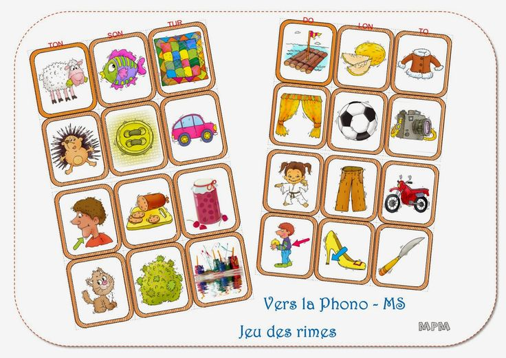 Ma petite maternelle: Phonologie - Jeu des rimes