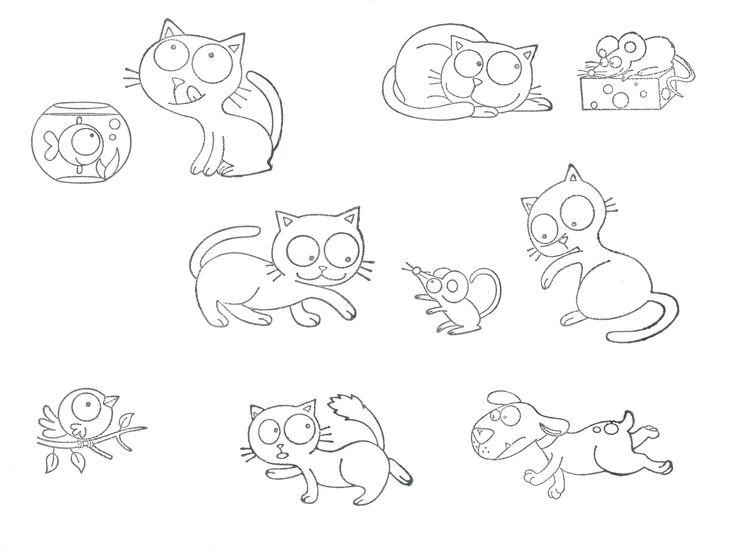 Razítka kočičky  (Velká kreativní razítka Stampo minos, Aladine) Razítka k tisku na papír i na kreativní tvoření na látku. (jen pro představu velikosti - byla natištěná na papír velikosti A4)