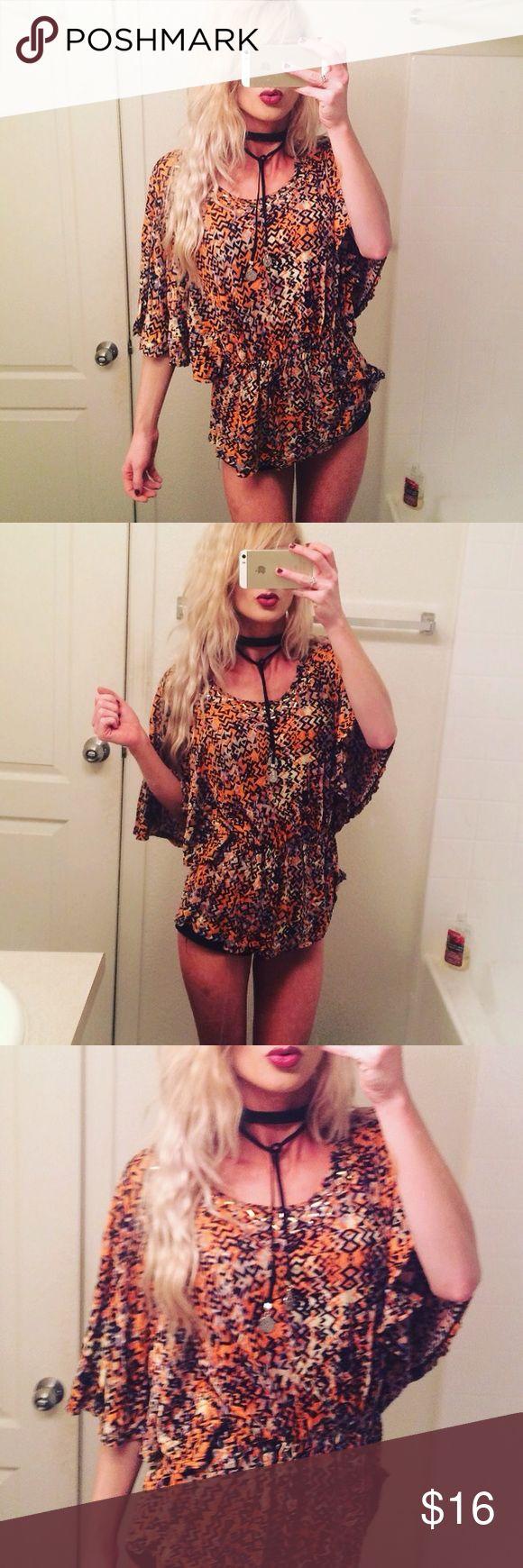 Aztec Tribal Top Size small. Aztec blouse. Brand Reba. NWOT. Never worn. Like Niger and looser fit. Reba Tops Blouses