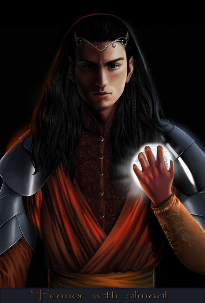 Feanor_with_silmaril_by_steamey-d5ohmzy.jpg Fëanor, el más grande y poderoso señor de los Noldor, llamado Curufinwë por su madre, Míriel, considerado el mayor artífice de la historia de elfos y hombres, dotado de una inteligencia y una habilidad sin par. Su obra maestra fueron los Silmarils, joyas que contenían la luz de los Dos Árboles de Valinor, Laurelin y Telpelion, y que se convirtieron en el único lugar donde esta luz sobrevivió tras la destrucción de ambos.: