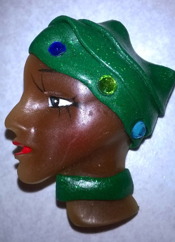 Side profile Porcelain lady face brooch with dark green hat with blue beads. by Jemmanda on Etsy