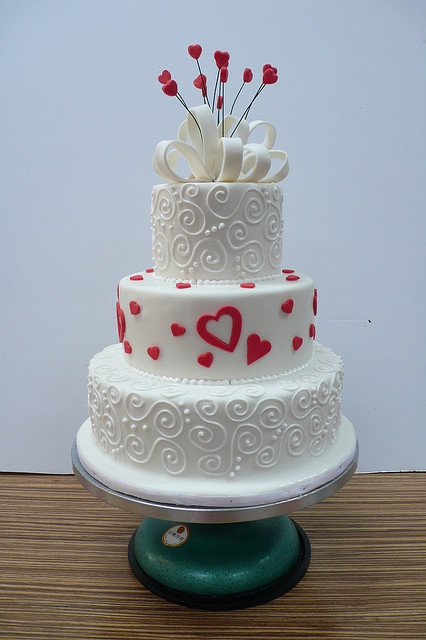 White wedding Cake with hearts and swirls by CAKE Amsterdam - Cakes by ZOBOT, via Flickr
