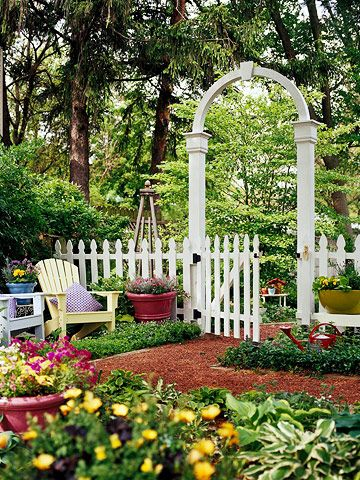 113 best images about backyard ideas on pinterest for Fence with arbor