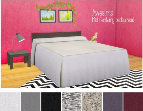 LinaCherie: Awesims Midcentury bedspread - working bed/mattress • Sims 4 Downloads