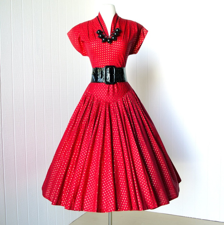 vintage 1940's dresss ...sizzlin' RED & GOLD POLKADOT forties crawford shoulders  full skirt new look pin-up swing cocktail dress. $180.00, via Etsy.: 1940 S Dressses, Polka Dots Dresses, Cocktails Dresses, Vintage Dresses, 50S Dresses, 1940 S Dresses, Red Gold, Vintage 1940 S, Gold Polkadot