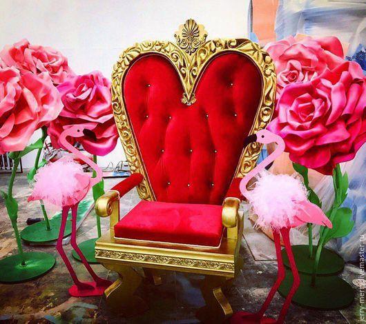 Мебель ручной работы. Ярмарка Мастеров - ручная работа. Купить Королевский трон, кресло Красной Королевы, Страна чудес, трон из алисы. Handmade.