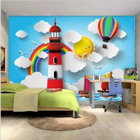 Best 3D Cartoon Lighthouse Rainbow Balloon Wallpaper For Kids 640 x 480
