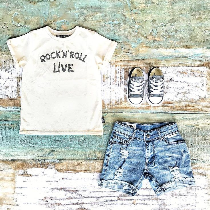 Cool Kids Clothes ~ Rock Your Kid #rocknroll tee, Sudo denim shorts & Converse kids sneakers [shop online & in-store in Noosa]   www.tinystyle.com.au  #rockyourkid #sudokids #converse #kidschucks #sudo #rockyourbaby #conversekids #kidsshoes #toddlerboysclothes #kidsdenim