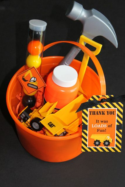 Fun favors at a Construction Birthday Party! See more party ideas at CatchMyParty.com! #partyideas #construction