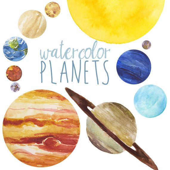 Watercolor Planets Clip Art set, Solar System, Science Clip Art, Universe…