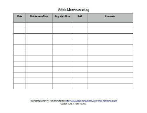 Daily Vehicle Maintenance Log – Printable Editable Blank Calendar 2017