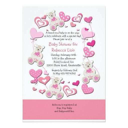 Osos de peluche y invitación rosada de los globos