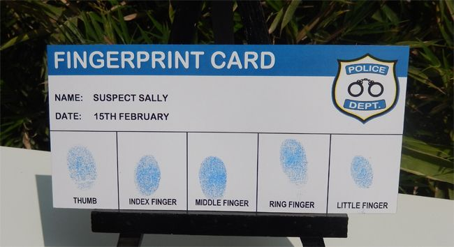 Police Party Printable Fingerprint Card