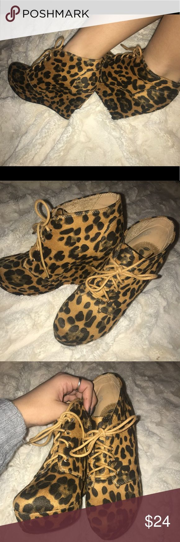 Cheetah wedges 🐆 suede cheetah heels/wedges.  size 6.5.  4 inch heel.  not from a name brand because they're from a local boutique. Steve Madden Shoes Wedges