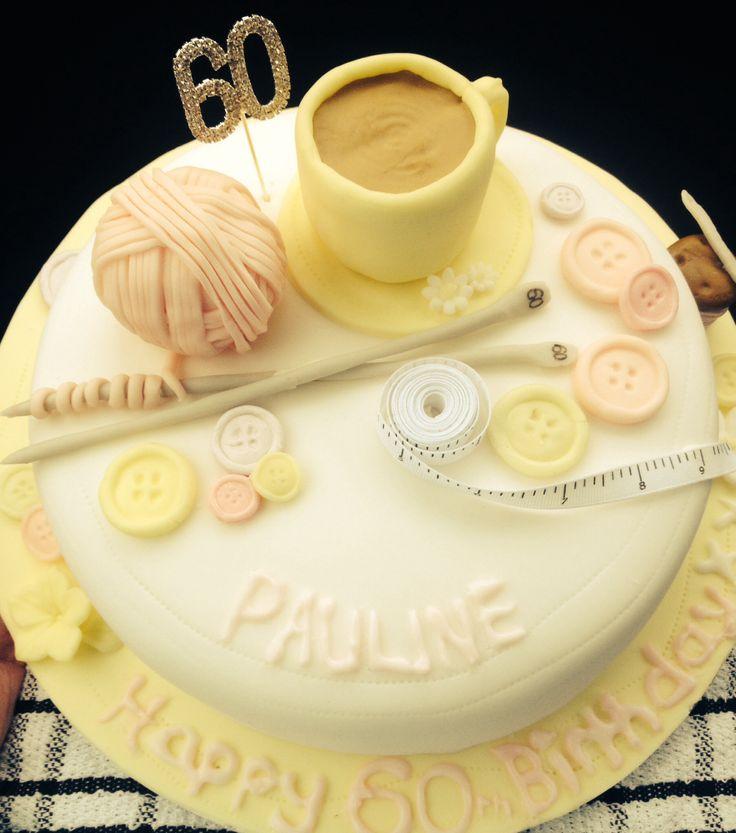 Knitting Birthday Cake Photos : Knitting sewing themed birthday cake