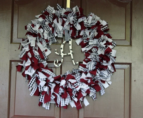 """College Spirit Rag Wreath ~ this would be cute with footballs and """"lets go"""" and """"hokies"""" on either side!"""