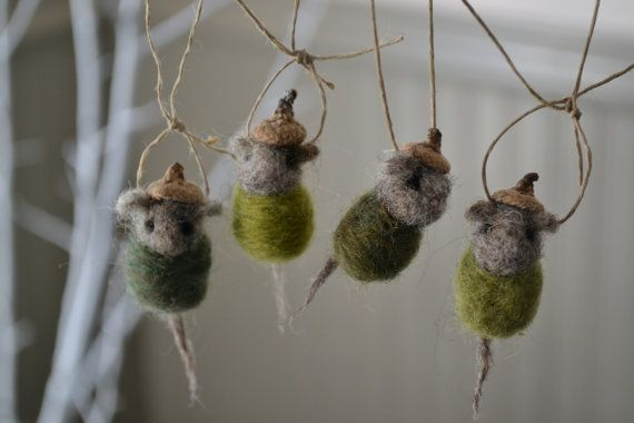 "Christmas Mouse Ornament, ""Evergreen"" Set of Four Needle Felted Baby ""Acorn"" Mice, Felted Wool Animal for Christmas Decoration, Gifts, Favor... OMG this is probably the cutest thing *EVER*...."