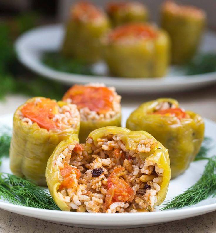 Gefüllte Paprika mit Reis auf türkische Art - vegan & glutenfrei