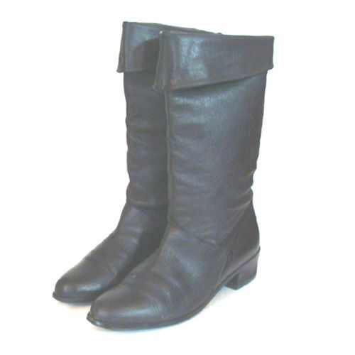 1980s Flat Black Leather Vintage Pirate Cuffed Boots 7M #Unbranded #Boots