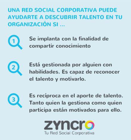 Descubre más en este artículo: https://blog.zyncro.com/2013/10/08/las-redes-sociales-corporativas-y-el-talento-oculto-en-las-organizaciones/