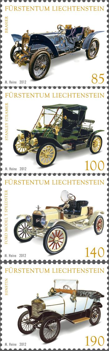 Veteran Cars stamps from Liechtenstein