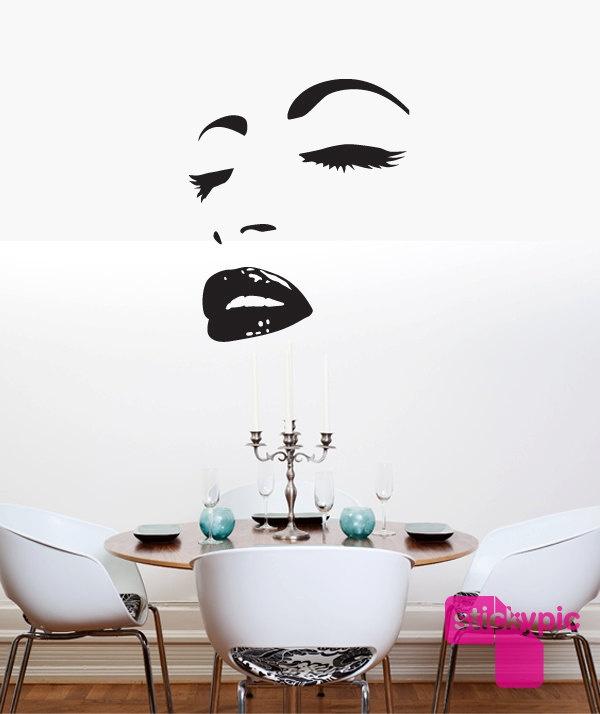 Face No2 (Vinyl Wall Sticker Wall Decal Door Sticker Wall Art Beauty Eyes Mouth Kiss). $109.00, via Etsy.