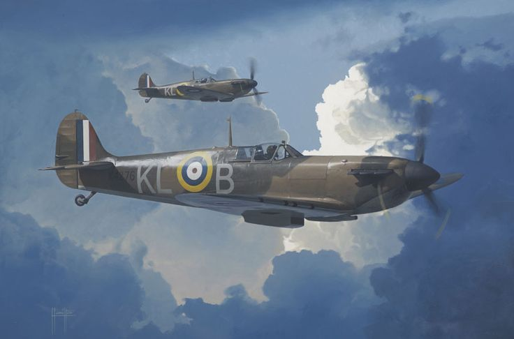 Pair of Spitfires from No.54 Squadron. X4276 KL-B was the aircraft normally flown by the New Zealander Al Deere while withdrawn from the southeast of England to Catterick to rest and train new pilots to the Squadron. - Aviation Art by Alex Hamilton